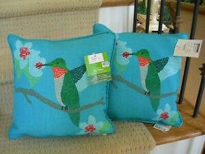 Pair Indoor or Outdoor Teal With Hummingbird and Floral Motif Poly Throw Pillows