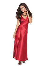 Charmeuse Satin Halter Neck Long Gown in black or red SM THRU 3X EM1919