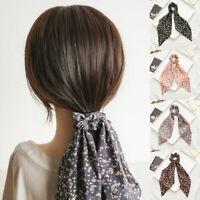 Women Floral Print Hair Ring Scrunchie Bow Streamers Elastic Hair Ties Ponytail