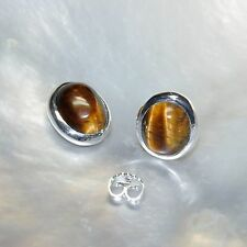 Tigerauge Ohrring, 925er Silber, Edelsteinohrringe (505), Edelsteinschmuck