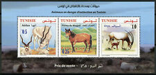 Tunisia 2019 MNH Endangered Wild Animals Addax Oryx 3v M/S Horses Fauna Stamps
