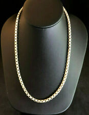 "Sterling Silver Necklace Box Chain Diamond Cut MENS Barse Italy 20"" 61g 925 1377"