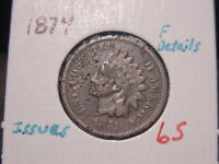 1874 INDIAN HEAD CENT FINE F  DETAILS NICE BETTER DATE COIN COMBINED SHIPPING