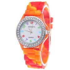 Geneva Multicolour Orange Red Rainbow Ladies Girl Silicone Watch Rhinestone
