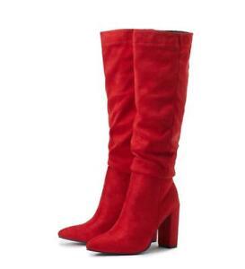 Women's Pointed Toe Comfort Boots Block Heel Faux Suede Riding Knee High Booties