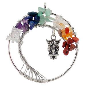 Tree Of Life Multi Agate Amethyst Crystal Gemstone Silver Owl Necklace Pendants
