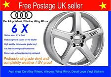 Audi Rings Alloy Wheel Stickers Decal set of x 6 including Free Postage
