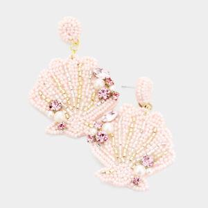 NEW Seashell Seed Bead Pearl Rhinestone Embellished Mermaid Ocean Theme Earrings