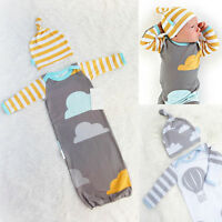 100%Cotton Newborn Baby Infant Swaddle Wrap Blanket Sleeping Bag + Hat 0-12Month