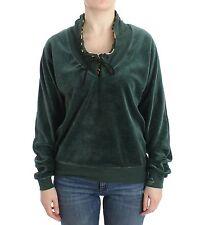 NWT $320 JUST CAVALLI Sweater Underwear Green Velvet Mock Cardigan IT42/ US8 /M