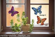 "CLR:WND 3 PACK D2 Butterfly Stained Glass Vinyl Window Decal ©YYDC(6.5""w x5.5""h)"