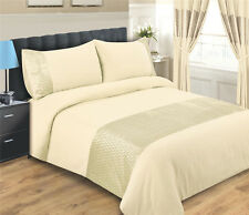 CREAM DUVET COVER SET INCLUDING PILLOWCASES  - KING SIZE - EMERALD