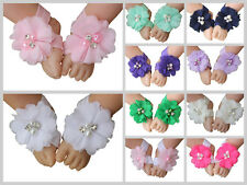Baby Barefoot Sandals Foot Band Flowers Newborn Toddler Girls Flower Shoes New