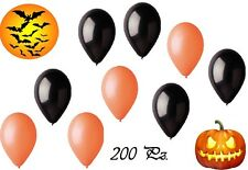 200 PALLONCINI G90 LATTICE NERI ARANCIONI FESTA PARTY HALLOWEEN NOTTE NERO