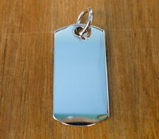 NEW 30x15 mm Sterling Silver Dog Tag Charm Pendant Necklace Men Women