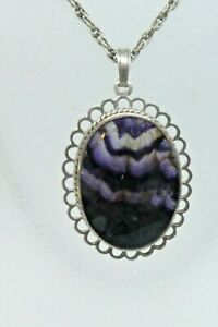 Vintage Blue John Pendant in Silver Mount Hallmarked and on 925 Chain