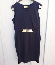 womens XXL  LBD v neck poly with gold accents. Knee length, cocktail dress