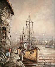 beau Tableau / Huile sur toile signée FLORENCE , Bateau de peche au port Marine