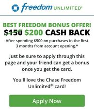 Spend 99 Cents Get $30.99 Back-Chase Freedom  referal Reward Sale