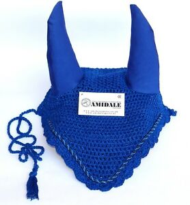 FLY VEIL HORSE EAR NET CROCHET EQUESTRIAN WITH PIPING R.BLU COLORS FULL/COB/PONY