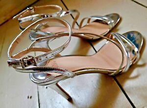 FAITH chrome silver STUDIO 54 stiletto party high heel sandals size UK 6.5/7