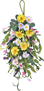 21 Inch Artificial Daisy Flower Swag Floral Wreath for Wedding Arch Front Door W