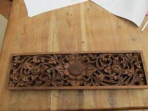 Wooden Vintage Hanging Wall Panel, Lotus Flower ? Art Deco ?