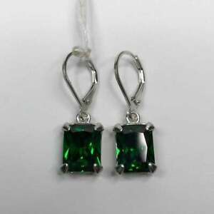 Women's 2 Ct Emerald Cut Emerald Leverback Earring 14k White Gold Finish Silver