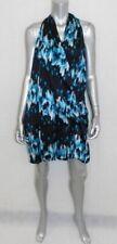 DEREK LAM DESIGN NATION NWT Black/Blue Print Sleeveless Bubble Dress sz L $64