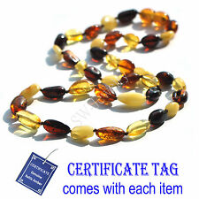 Multi Color Genuine Baltic Amber Knotted Necklace for Adult N80083