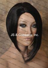 Asymmetrical Posh Style Short  Jet Black dark Side skin top parting Wig WBPA 1B