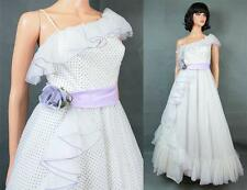 One Shoulder Prom Dress XS Vintage White Chiffon Purple Swiss Dot Wedding Gown
