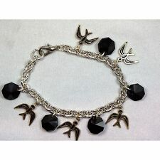 Silver Filled Charm Bracelet with Black Rivolis and Vintage Enameled Charms