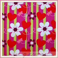BonEful Fabric FQ Cotton Quilt Red Pink White Green HEART Flower Girl Stripe Dot