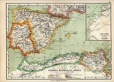 Antique map : Spain / Hispania / Mauretania / Lybia / Africa Mediterranean 1884