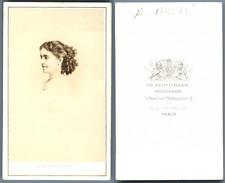 Adélina Patti vintage carte de visite, CDV  CDV, tirage albuminé, 6 x 10.5 cm,