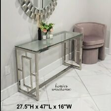 Modern Console Table Glass Steel Frame Entryway Hallway Foyer Living Room Accent