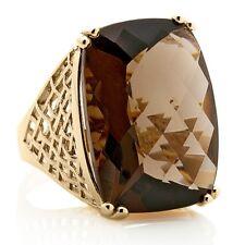 Size 7 Technibond Bold Smoky Quartz Gemstone Ring 14K Yellow Gold Clad Silver