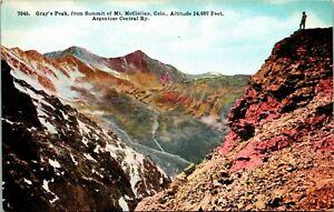 Vtg Postcard Colorado Co Gray's Peak From Summit Mt. McClellan via Argentine Rwy