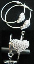 Unbranded Heart Silver Plated Hoop Costume Earrings