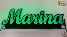 "LED LKW Trucker Leuchtschild Namensschild ""Marina"" Wunschname 12 24V grün ©faunz"