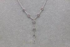 "18K White Gold Bezel Set Y Style Diamond Necklace 17"" Length"