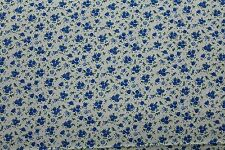 100 % Cotton fabric ~ Cream with blue, flowers, green leaves ~ BTY