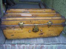 """""""STAR OF INDIA"""" Antique Flattop Trunk Chest Foot Locker Steel w/ Brass Hardware"""