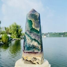 1120g Natural Beautiful Fluorite Quartz Crystal Obelisk Wand Point Healing Stone