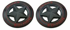 "(TWO) TEXAS STAR EDITION 3"" EMBLEMS BLACK/RED UNIVERSAL STICKON TACOMA TUNDRA"