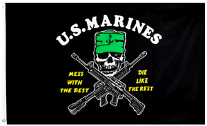 MARINES Mess with the Best Die Rest Flag Banner 3x5 FT Military Man Cave USMC