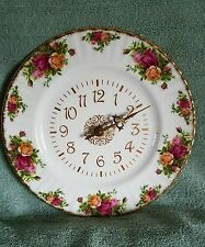 "VTG. 1962 ROYAL ALBERT Bone China ""OLD COUNTRY ROSES"" NON-WORKING Plate CLOCK"