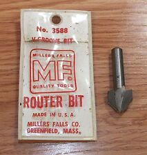 Genuine Millers Falls Quality Tools (3588) V-Groove Router Bit *READ*
