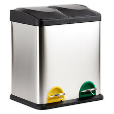 30 LITRE DOUBLE RECYCLING PEDAL BIN TWIN COMPARTMENT KITCHEN RUBBISH/WASTE 30L